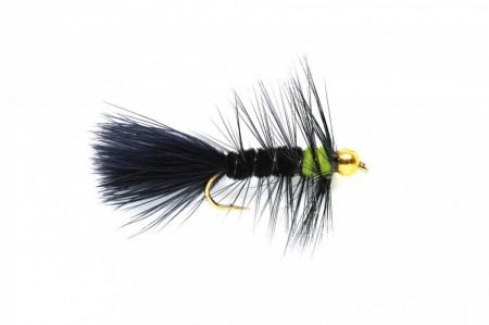 WOOLLY BUGGER BLACK & GREEN (GOLD NUGGET)