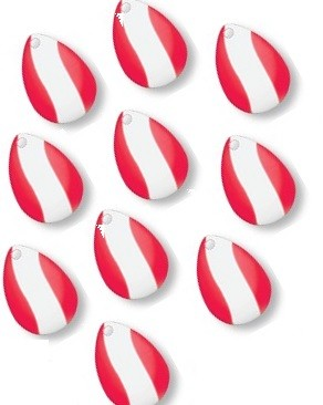 Spinner Blades Red & White 18 x 23 mm (10 stk)